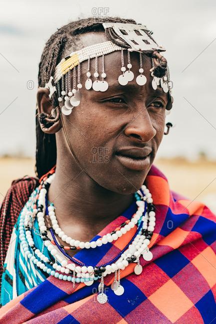 Tanzania - September 18, 2016: Masai man with traditional clothing