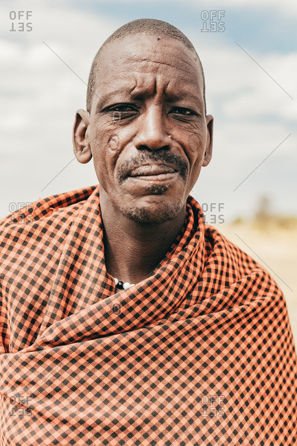 Tanzania - September 18, 2016: Masai man with scarred cheeks