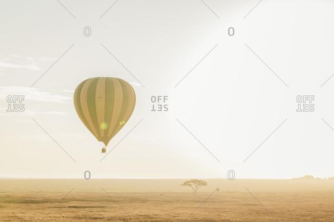 Tanzania - September 19, 2016: Hot air balloon over Serengeti