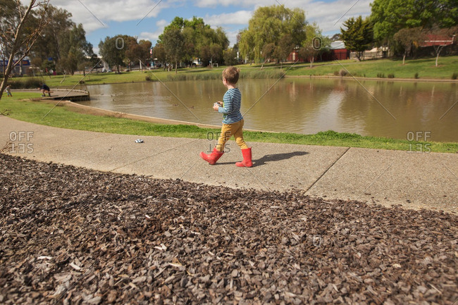 Boy in park with remote control car