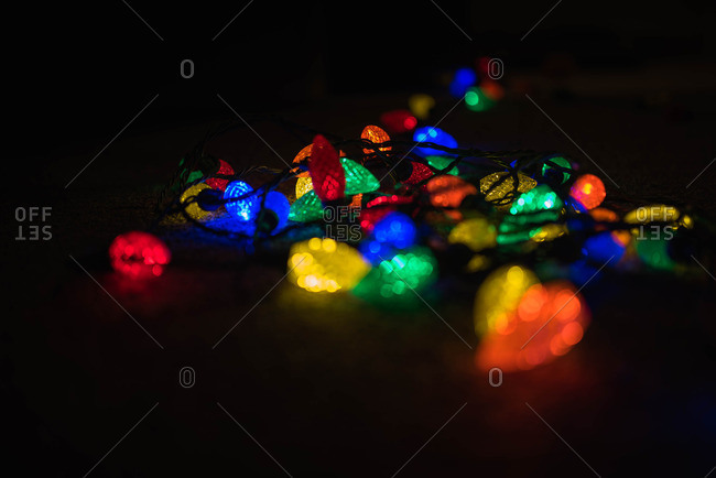 Christmas lights glowing in dark