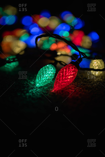 Christmas lights glowing in the dark