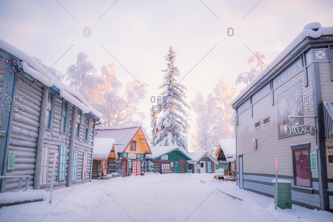 December 21, 2015: A rural village street in snow cover