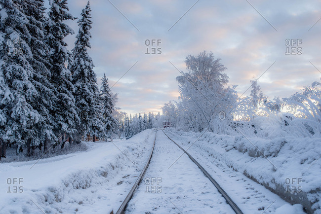 Train tracks through rural winter setting