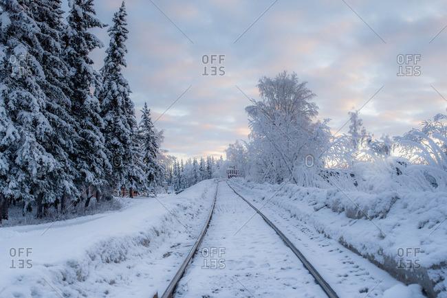 Train tracks through rural winter setting