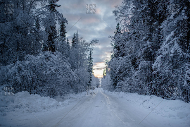 A road through rural winter setting