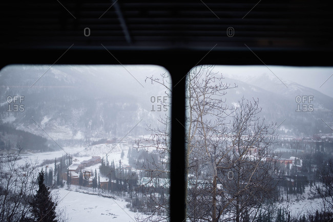 View of mountain town from train