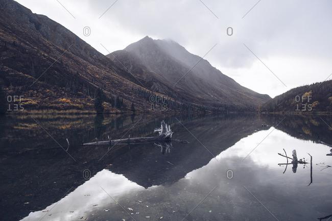 Mountain range reflected in lake