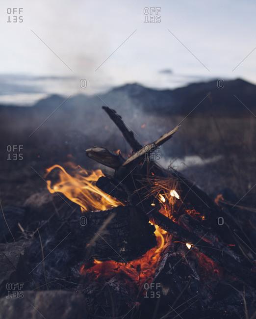 Campfire at a mountain campsite
