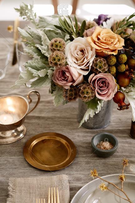 Table set with floral arrangement