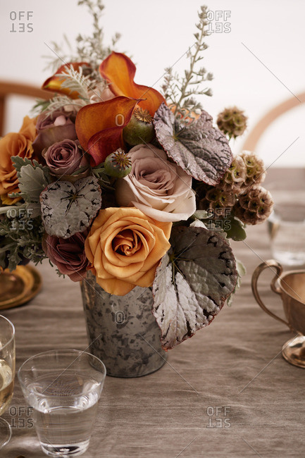 Floral arrangement at the center of a table