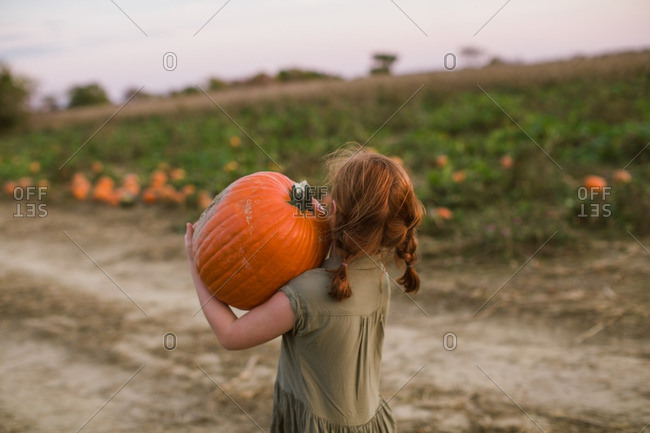 Girl carrying a pumpkin on her shoulder while at the pumpkin patch