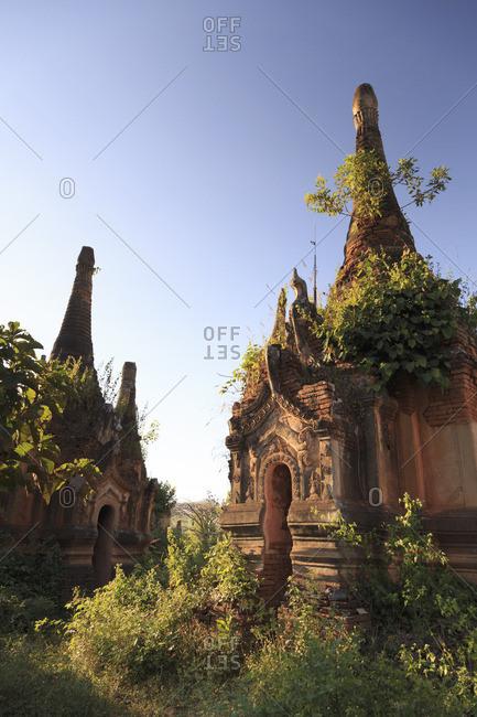 Myanmar (Burma), Shan State, Inle Lake, Inthein Village Nyaung Ohak old ruins