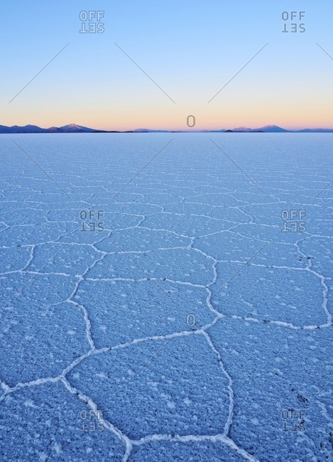 Bolivia, Potosi Department, Daniel Campos Province, View of the Salar de Uyuni, the largest salt flat in the world at sunrise.