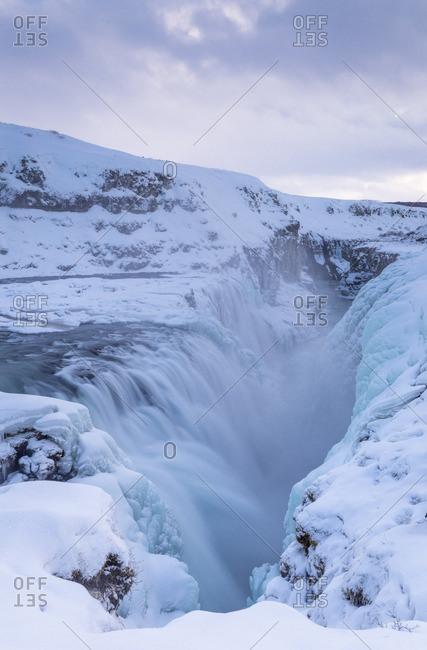 Gullfoss waterfall in winter time,south western Iceland,Europe