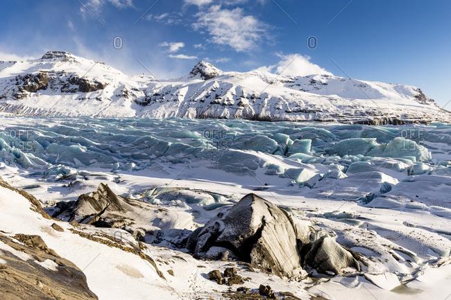 View of Svínafellsjökull glacier,National Park of Vatnajökull,southern Iceland,Europe