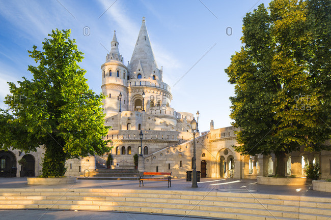 Hungary, Central Hungary, Budapest. Fisherman's Bastion takes it's name from the guild of fishermen responsible for defending this stretch of the city during the Middle Ages.