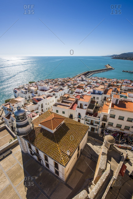 Peniscola - February 20, 2016: Top view over the fortified seaport of Peniscola, Comunidad Valenciana, Spain