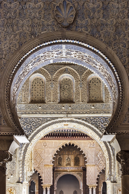Moorish architecture inside the Alcazar, Seville, Andalusia, Spain