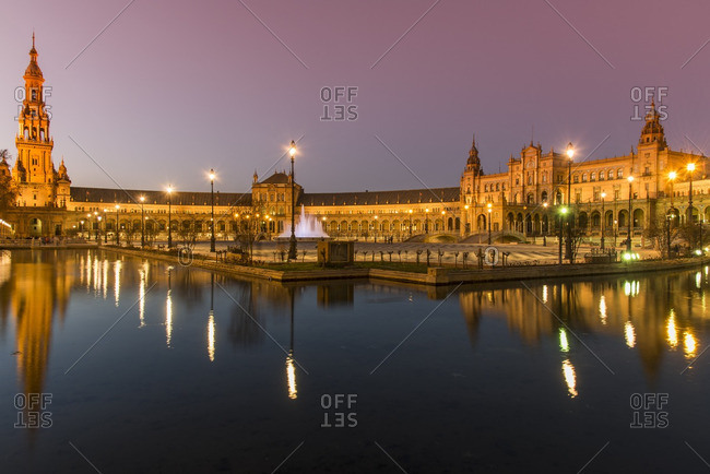 Night view of Plaza de Espana, Seville, Andalusia, Spain