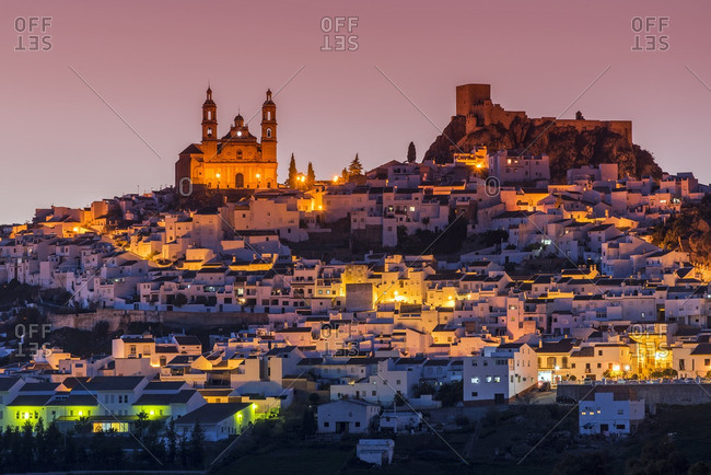 Dusk view of Olvera, Andalusia, Spain