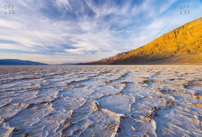 USA, California, Death Valley National Park, Badwater Basin, lowest point in North America, salt crust broken into hexagonal pressure ridges
