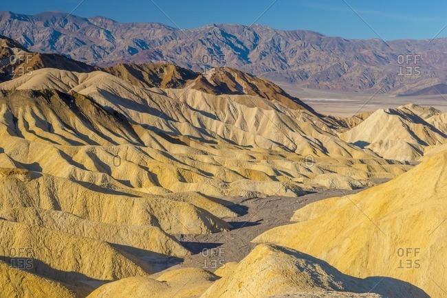 USA, California, Death Valley National Park, Zabriskie Point, Panamint Range of mountains beyond