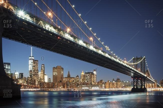 USA, New York, New York City, Lower Manhattan and Manhattan Bridge