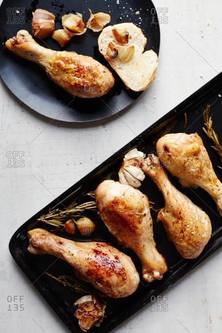Overhead view of garlic rosemary chicken
