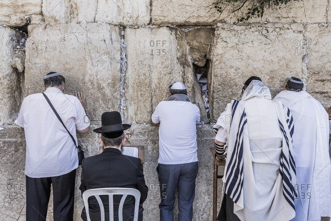 Old Town, Jewish Quarter, Western Wall (Wailing Wall), prayer of worshippers
