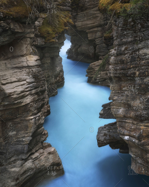 The Athabasca River In Jasper National Park Cascades Down The Athabasca Falls
