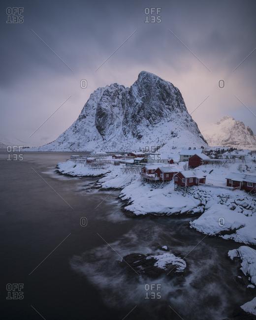 Red Rorbu Cabins In Lofoten Islands, Norway