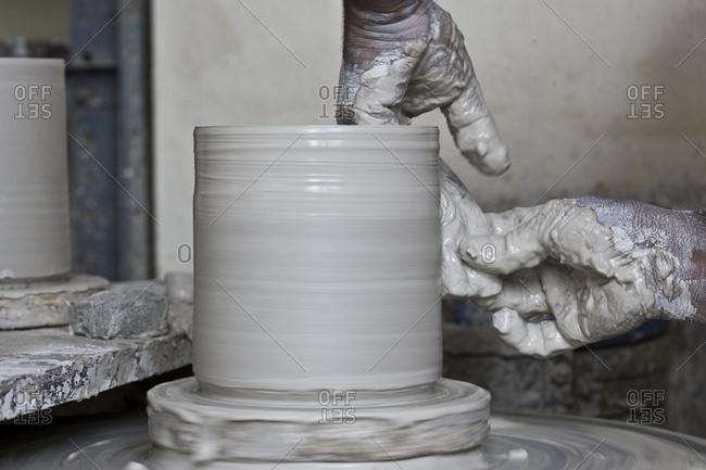 Expert Hands Making Pot At Thimi Ceramics in Nepal