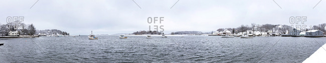 Panoramic view of Winter snow in a coastal town