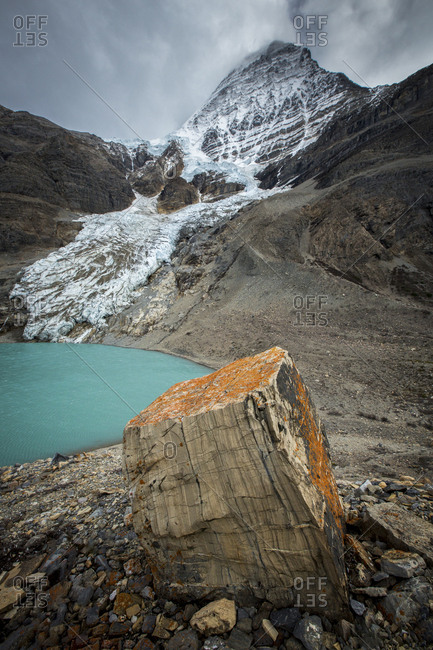 Glacier And Lake In Mount Robson Provincial Park, British Columbia, Canada
