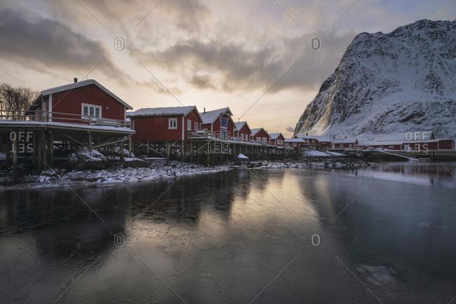 Traditional Red Rorbu Cabins In Reine, Lofoten Islands, Norway