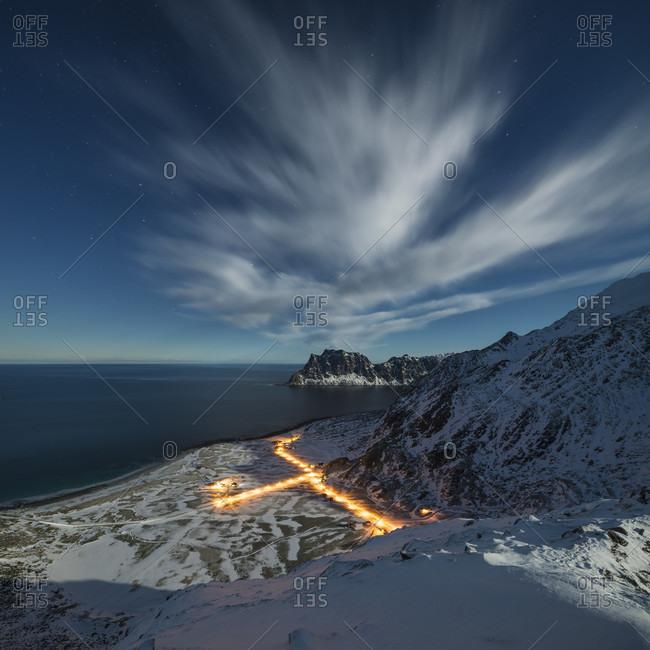 Haukland Beach During Moonlit Night In Vestvagoy, Lofoten Islands, Norway