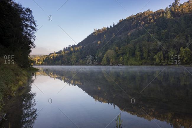 Reflection In The Umpqua River, Oregon, Usa