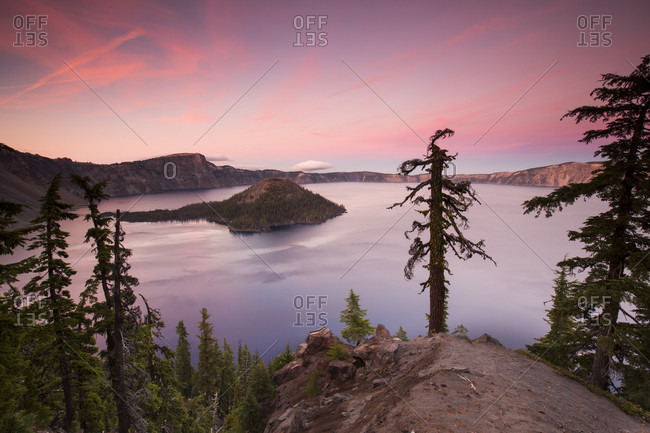 View Of Crater Lake During Sunset In Oregon