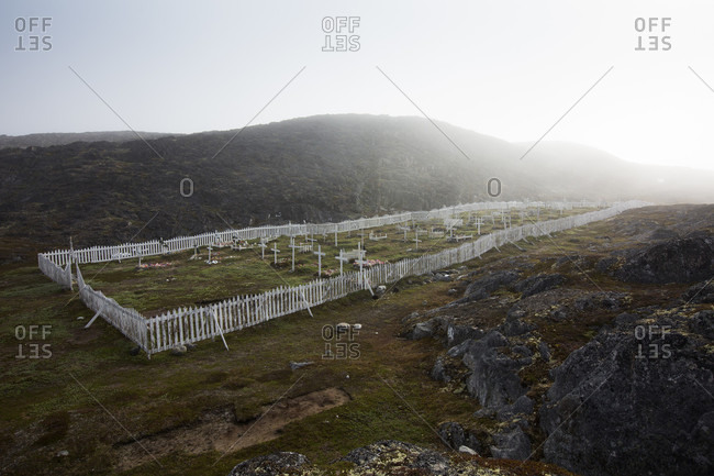 A Cemetery On The Barren Landscape In The Arctic Village Of Itilleq, Greenland