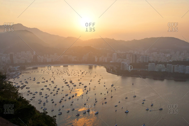 View Of Botafogo Bay And Rio De Janeiro Cityscape During Sunset