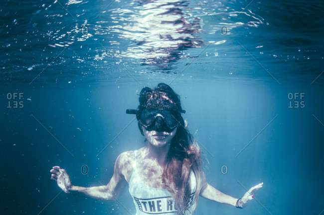 Close-up Of Girl Snorkeling Underwater