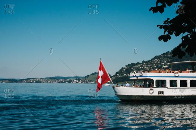 Brunnen, Switzerland - August 3, 2015: Tourist boat on Lake Lucerne in Switzerland