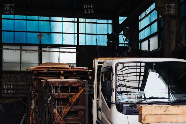 Truck parked inside a garage in Tokyo, Japan