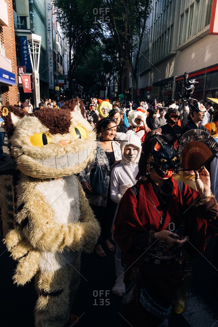 Tokyo, Japan - October 16, 2016: Streets in Tokyo filled with people dressed as cats for the Bunkyo parade