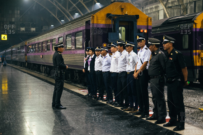December 15, 2015: Train conductor talking to train employees
