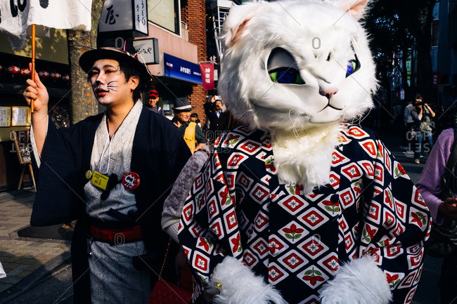 Tokyo, Japan - October 16, 2016: People dressed in cat costumes for the Bunkyo parade