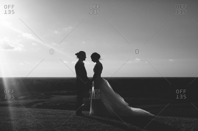 Bride and groom holding hands and standing face to face on a grassy hill overlooking the countryside