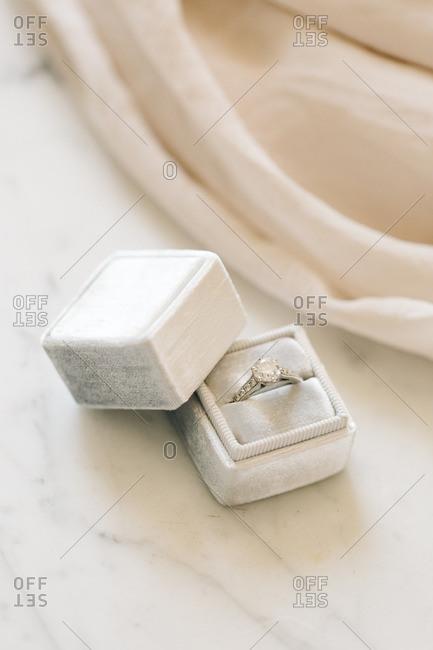 Diamond wedding band in box