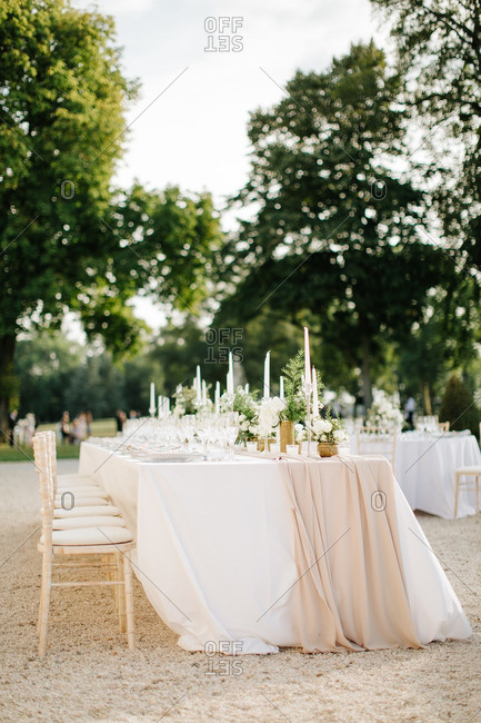 Wedding tables in country setting